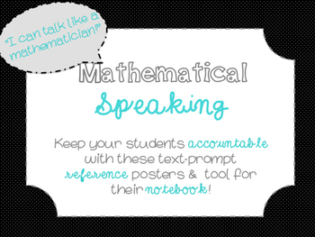 "Accountable Common Core ""Math Talk"" Reference Posters {Bla"
