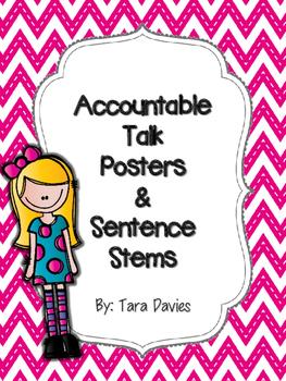 Accountable Talk Posters & Sentence Stems - Pink Chevron & Dots