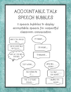 Accountable Talk Respectful Converstation Starters Speech Bubbles