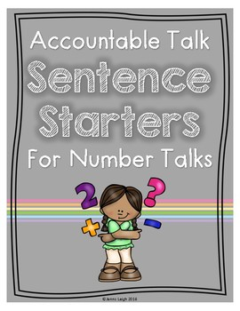 Accountable Talk Sentence Starters for Number Talks