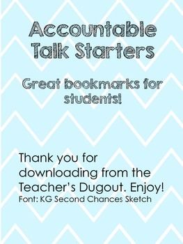 Accountable Talk Starters Bookmarks