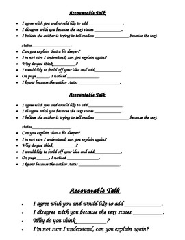 Accountable Talk Starters Differentiated