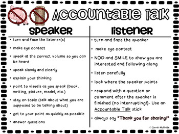 Accountable Talk T-Chart (Speaker VS Listener)