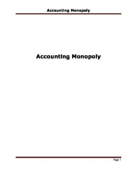 Accounting Lesson Plan and Activity - Accounting Monopoly