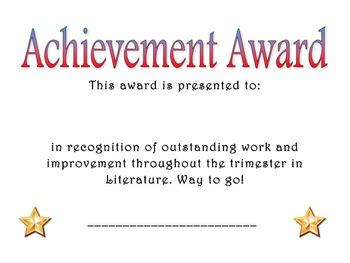 Achievement Award: Literature