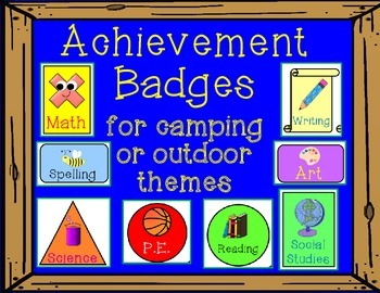 Achievement Badge Brag Tags for Camping Theme