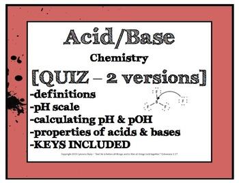 Acid Base Quiz [2 versions, editable, with KEY]