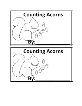 Acorn Counting Book Emergent Reader book for Preschool or