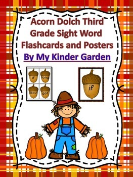Acorn Dolch Third Grade Sight Word Flashcards and Posters