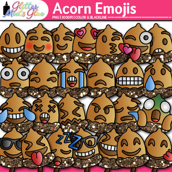 Acorn Emoji Clip Art - Emoticons and Smiley Faces - Autumn, Fall