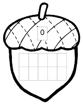 Acorn Fall Thanksgiving Math 10 ten frame 0-20 ESL center