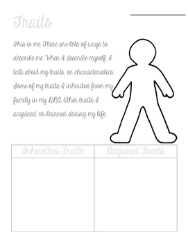 Acquired and Inherited Traits Worksheet