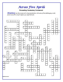 Across Five Aprils: 50-word Prereading Crossword--Use with