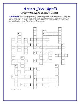 Across Five Aprils: Synonym/Antonym Vocab Crossword--Use w