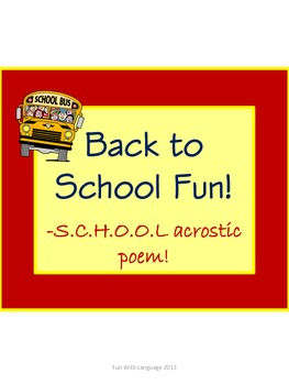 Acrostic Poem Activity for Back to School Fun and Creative