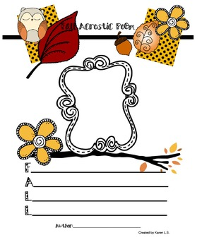 Acrostic Poem Stationery (Word:Fall)
