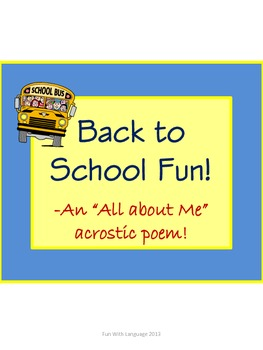 All About Me Acrostic Poem Templates for Back to School