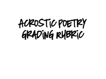 Acrostic Poem rubric