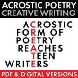 Acrostic Poetry for Teens, High School and Adv. Middle Sch