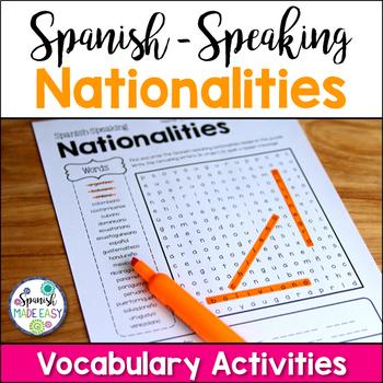 Spanish-Speaking Nationalities Puzzles and Spelling Quiz