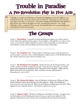 "American Revolution ""Act it Out "" Cooperative Learning Project"
