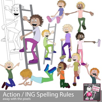 Action Kids Clipart - Spelling Rules ING End - Clip art -