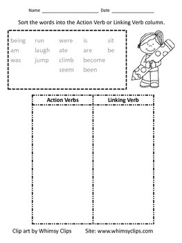 Action Verb and Linking Verb Sort Worksheet