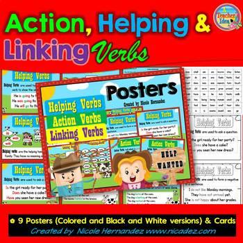 Action Verbs, Helping Verbs & Linking Verbs - Posters, Cen