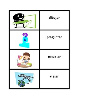 Action verbs in Spanish games: Concentration, Slap, Old Ma
