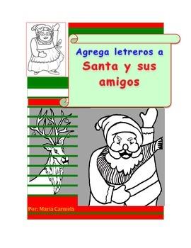 """Navidad: Actividad Navideña  Agrega letreros a """"Santa y su"""