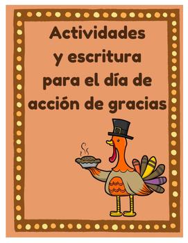 Actividades y escritura para dia de accion de gracias (Tha