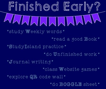 Activities for Early Finishers on Smartboard