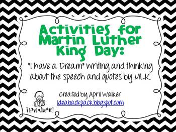 Activities for Martin Luther King: Writing about and Analy