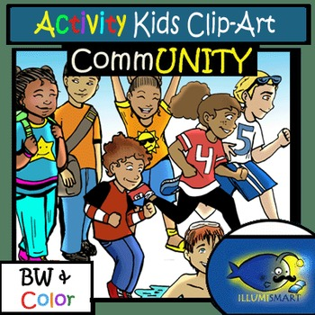 Activity Kids CommUNITY Clip-Art (30 pc. BW and Color!)