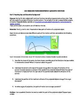 Modeling Transformations of Quadratic Functions