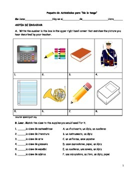 """Song Activity Packet for """"No lo tengo"""" (Spanish school unit)"""