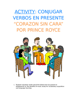 Activity Sp1, Sp2, Sp3 - Present Song Cloze: Prince Royce