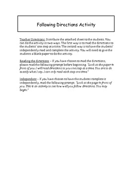 Activity on Following Directions