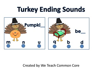 Activity with Ending Sounds and Turkeys for Literacy Cente