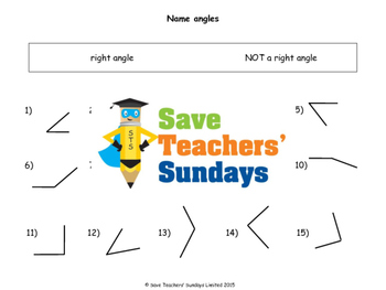 Acute, Obtuse and Right Angles worksheets (4 levels of dif