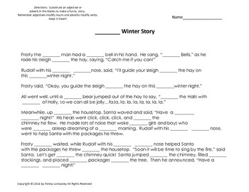 Christmas Ad-lib with Adjectives and Adverbs Silly Winter