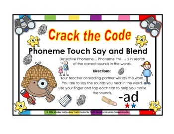 Ad word Family Phonemes Crack the Code Chant and Cards
