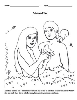 Adam & Eve Coloring Page Activity - In the Beginning - The