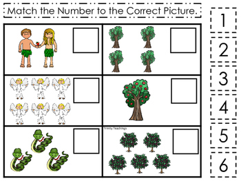 Adam and Eve Match the Number printable game. Preschool Bi