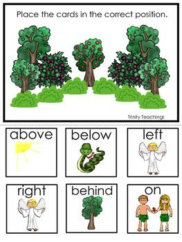 Adam and Eve Positional Game printable game. Preschool Bib