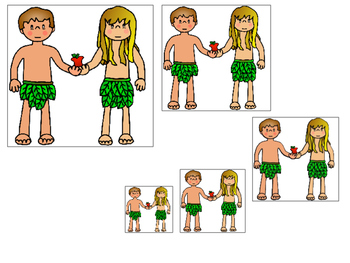 Adam and Eve Size Sequence printable game. Preschool Bible