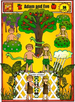 Adam and Eve in the Garden of Eden Clip Art by Charlotte's Clips
