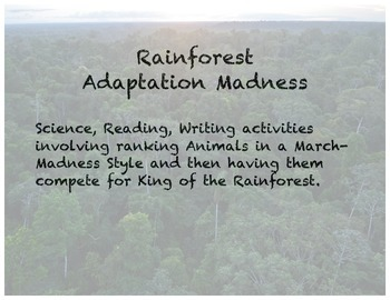 Adaptation Madness (Rainforest Activity like March Madness