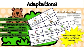 Adaptations True or False Task Cards