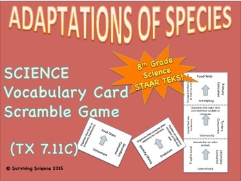 Adaptations of Species: Vocabulary Cards Scramble Game ( T